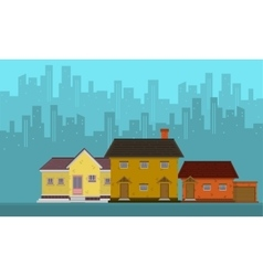 Silhouette of city with house flat vector image vector image