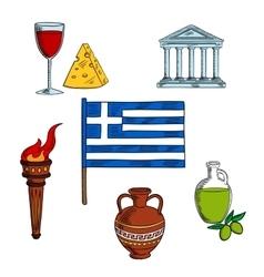 Symbols of Greece for travel design vector image
