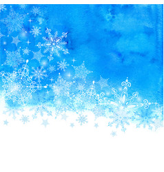 winter background with snowflakes and blue hand vector image vector image