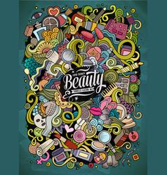 cartoon cute doodles hand drawn beauty vector image