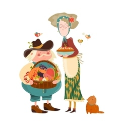 Couple with basket of fruits and vegetables vector image vector image