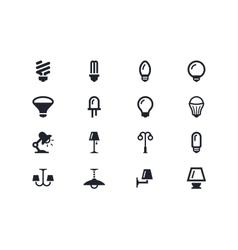 Lightning and light bulbs icons Lyra series vector image