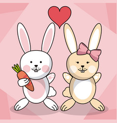 loving couple rabbit animal baby heart decoration vector image