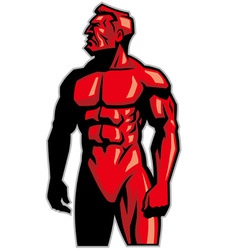 muscle man mascot standing vector image