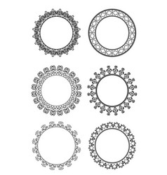 set of black and white frame of lace on a whit vector image vector image