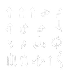 set of hand drawn universal isolated arrows vector image vector image