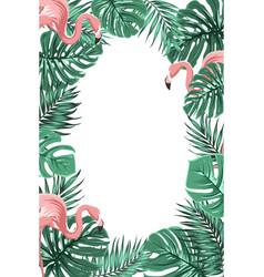 tropical jungle leaves flamingos frame portrait vector image