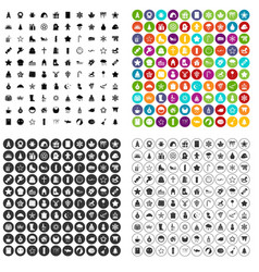 100 christmas icons set variant vector image