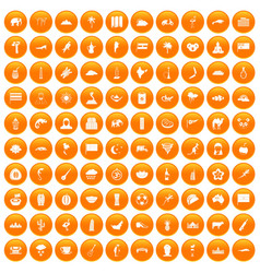 100 exotic animals icons set orange vector