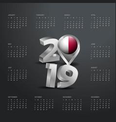 2019 calendar template grey typography with malta vector