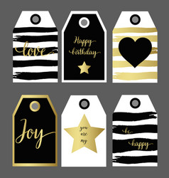 a set 6 design gift tag fashion design black and vector image