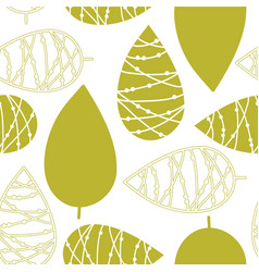 abstract green doodle leaves on a white background vector image