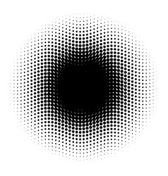 abstract halftone circle of dots in wavy vector image