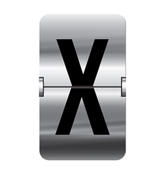 Alphabet silver flipboard letters x vector image