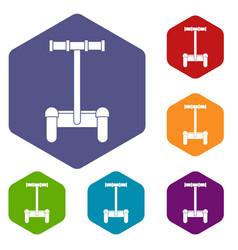 Alternative transport vehicle icons set hexagon vector