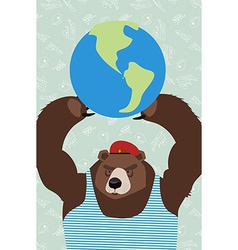 Bear is holding the planet vector