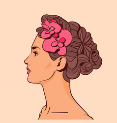 beautiful woman profile with flowers in elegant vector image