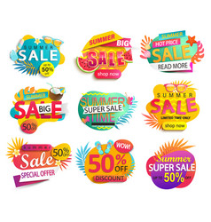 big set summer sale and discounts stickers vector image