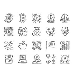 bitcoin charcoal draw line icons set vector image