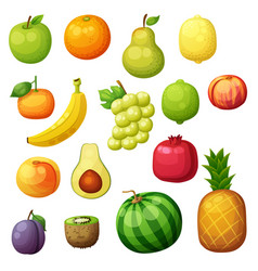 cartoon fruits icons set isolated on white vector image