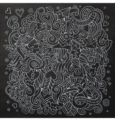 Cartoon hand-drawn Love Doodles Chalkboard vector image