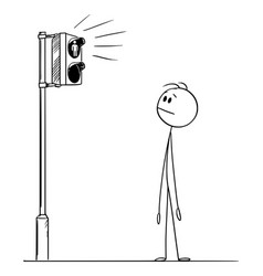 Cartoon man or pedestrian waiting for green vector