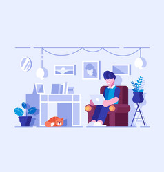 cartoon man spending free time at home vector image