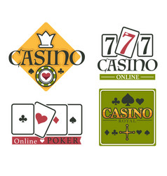 casino club isolated icons gambling and poker vector image