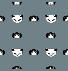 cat and dog cute animal seamless pattern vector image