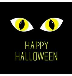Cat eyes in dark night Happy Halloween card vector