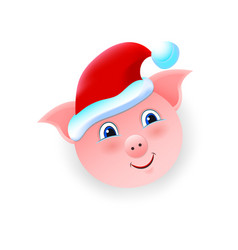 christmas cartoon pig isolated object on white vector image