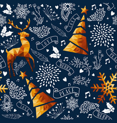 christmas gold low poly ornament seamless pattern vector image