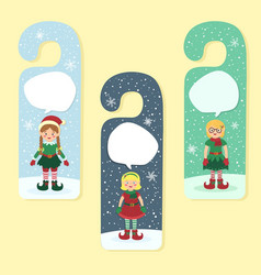 Christmas hanger greeting card elves elf girl vector