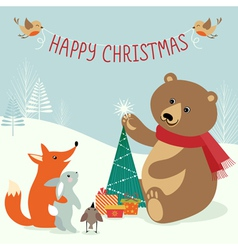 Christmas woodland vector