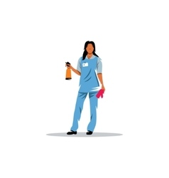 Cleaning service Girl with sprayer and a rag vector image