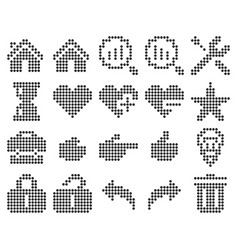 collection dotted icons user interface set 2 vector image