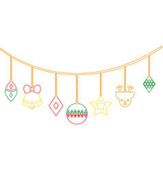 color line differents balls hanging to christmas vector image