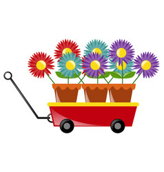 Colorful flowers on red wagon vector