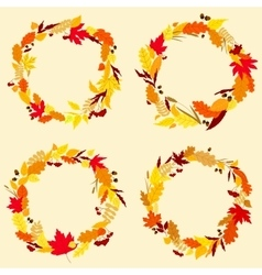 Colorful wreaths of autumn leaves vector image