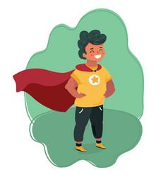 comic brave boy in superhero costume vector image