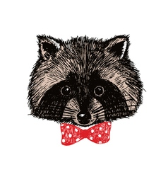 Concept hand drawn cute raccoon in bow-tie Design vector image