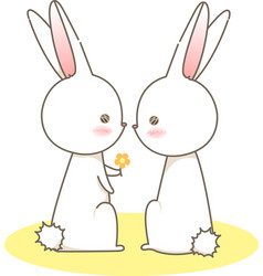 Couple white rabbits give a yellow flower cartoon vector