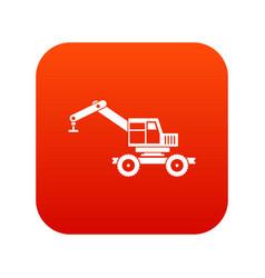 Crane truck icon digital red vector