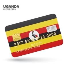 Credit card with Uganda flag background for bank vector