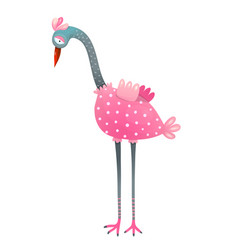 cute flamingo bird watercolor style isolated vector image