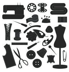 dark sewing icons set vector image