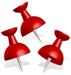 Detailed 3d push pins thumbtacks in red vector