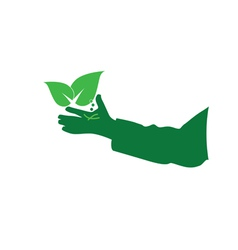 eco hand green vector image