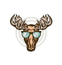 Elk head moose stylish head isolated wild animal vector