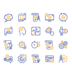 engineering line icons set of idea bulb dividers vector image